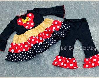 Minnie Mouse Girls Outfit, Minnie Mouse Red Yellow and Black White Polka Dot Tiered Tee & Pant Outfit