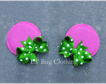 Pink & Lime Polka Dot Girls Minnie Mouse Ears Hair Clip Accessories