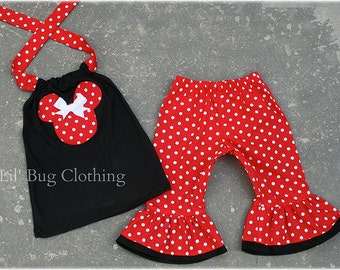 Custom Boutique Clothing Black Red White Dot Minnie Mouse Capri Halter Set