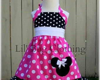 Custom Boutique Clothing Minnie Mouse Hot Pink White Sash  and Black Dots Jumper Dress