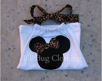 Custom Boutique Leopard Minnie Mouse halter top size 3m 6m 9m 12m 18m 24m 2t 3t 4t 5t 6 7 8 9 10 12 girl