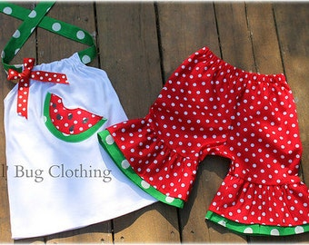 Custom Boutique Clothing Watermelon Red Green  Short and Halter Top  3m 6m 9m 12 18 24 2t 3t 4t 5t 6 7 8 9/10 girl.