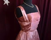 Vintage 1950s Elegant Pink Silk Satin Evening Bombshell Dress - Size Small