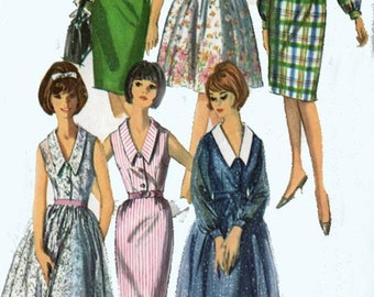 1960s Madman One-Piece Dress with Two Skirts and Detachable Collar Simplicity 5822 Vintage 60s Sewing Pattern Womens Size 16 Bust 36