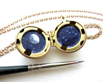 Custom Zodiac Necklace, Cancer Constellation, Made-To-Order Hand-Painted Locket