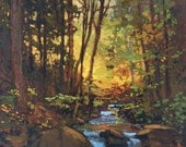 Light In The Woods- Mission Arts and Crafts CRAFTSMAN Creek Sunset - Giclee Fine Art PRINT of Original Painting matted 12x12 Jan Schmuckal