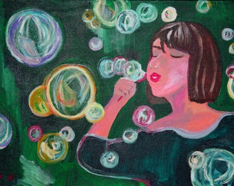 Girl blowing bubbles ACEO Art Print Children's wall art Whisical Art Girl's room decor Nursery Art Print Bubbles by Niina Niskanen
