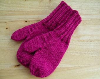 Child Medium Mittens Wool Hand Knit Dark Raspberry