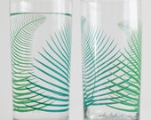 Summer Green Ferns Glassware - Set of 2 Everyday Drinking Glasses