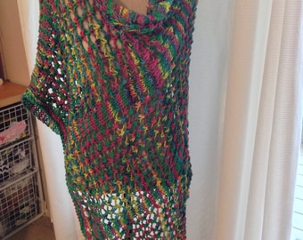 Assymetrical Cotton  Poncho, Hand Knit in Bright Multicolor Yarn