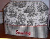 SEWING MACHINE COZY / Cover - Black Toile - Embroidered
