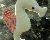 Seahorse Softie Ornament (sage/paisley)