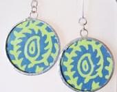 tribal earrings - boho earrings - ethnic earrings - lime green earrings - paisley earrings - mandala earrings - green and blue earrings -