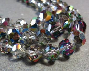 Aurora Borealis Necklace Three Strand Crystal Necklace Vintage Necklace