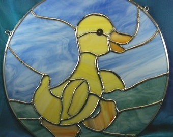Handmade Stained Glass Duckling Panel Circle