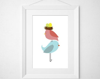 birdie parents stacked - twins  - nursery art print