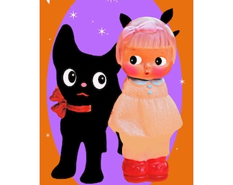 halloween doll print aceo size A MEOWGICAL HALLOWEEN