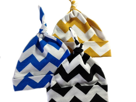 Set of 3 top knots hats for boys Blue Black and Gold