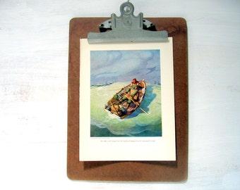 1916 Childrens Story Book Illustration -  The Black Arrow - 1916 Robert Louis Stevenson Small Boat