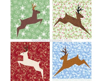 Reindeer block, paper pieced quilt pattern, PDF paper piecing patterns, Christmas patterns, holiday patterns deer patterns stag animal quilt