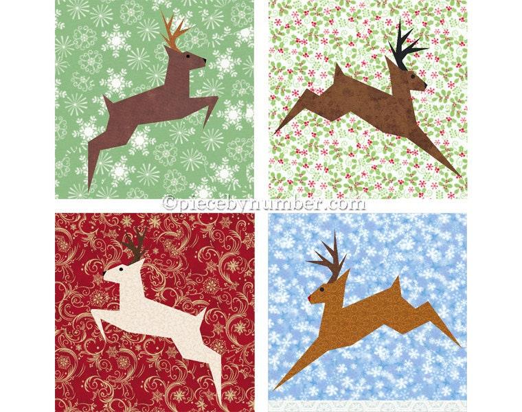 Reindeer Block Paper Pieced Quilt Pattern Pdf Paper