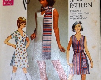 Vintage 1969 Sewing Pattern How to Sew Simplicity 8613 Misses' One-Piece Dress  Bust 35 Inches Uncut Complete