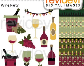 Wine bottles and wine glasses clipart - Wine party clip art - Instant download