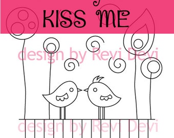 Embroidery pattern PDF download / Valentine's day design hand embroidery / Kiss me birds embroidery craft patterns / download