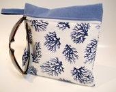 Nautical Makeup Bag , Summer Clutch Purse , Tropical Gift , Travel Organizer ,  Blue Sea Coral , Purse Organizer , Nautical Cosmetic Bag