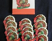Holiday Collections Vintage Dennison Tom Turkey Thanksgiving Stickers in Original Box 12 pieces Paper Ephemera
