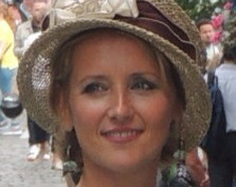 Straw Travel Hat - Seagrass with Organic Jersey Flapper Headband - Chocolate and Natural - Lavinia