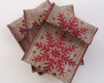 Jewelry Bead Pouches - 14 Snowflake Red Glitter