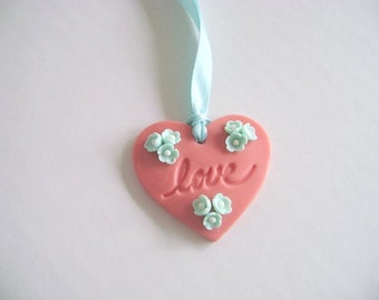Bridal Shower Tag Magnet Coral and mint Love Tag Wedding Favor Tag Heart Tag Set of 10 Made to Order