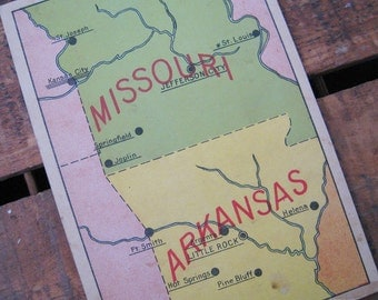 Vintage United States Geography Flash Card - Missouri & Arkansas