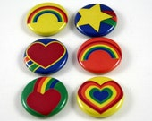 6 One Inch Retro Rainbow, Flower, Star  Buttons- , Flair, Hollow Back, Flat Back Button Set #5