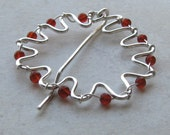 Beaded shawl pin, sterling silver sweater clip, red-orange carnelian beads