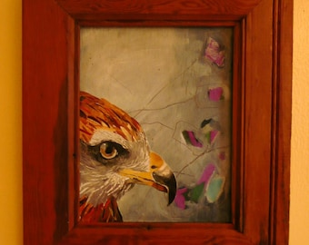 Falcon - recycled magazine paper collage, original mixed media art
