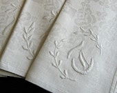 "Linen Table Napkins -- Set of 6 -- Monogram ""T"" -- Vintage -- Damask -- Hand-Embroidered -- White -- 23"" Square"