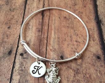 Frog charm bracelet - frog jewelry, amphibian jewelry, frog bangle, toad bracelet, silver frog bracelet, bullfrog jewelry, amphibian bangle