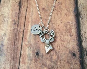Deer initial necklace - deer jewelry, antler necklace, deer head necklace, woodland necklace, buck necklace, silver deer necklace