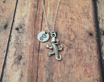 Lizard initial necklace - lizard jewelry, reptile necklace, gecko jewelry, silver lizard necklace, gecko necklace