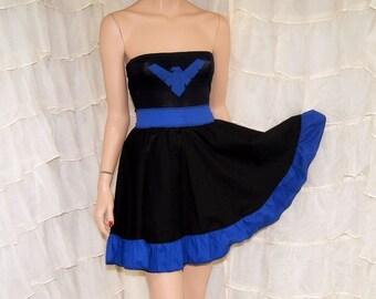 Nightwing Logo Strapless Summer Sun Dress Cosplay Costume Adult Small / Medium MTCoffinz - Ready to Ship