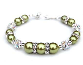 Lime Green Pearl Rhinestone Bracelet, Bridesmaid Jewelry, Lime Green Bridesmaid, Green Wedding, Spring Wedding, Bridesmaids Gifts