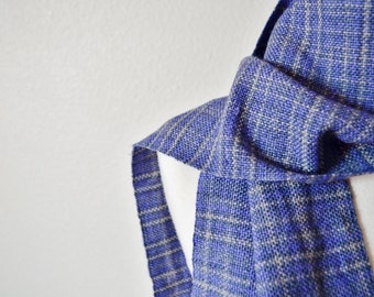 Women's Woven Scarf - Handwoven Fall Fashion in Purple and Grey Faux Plaid Pattern. Fringey Scarf, Traditional Scarf.