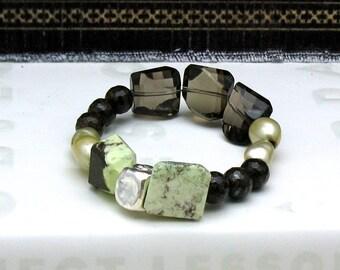 Smoky Quartz Luxe Boho Beaded Bracelet, Chrysoprase Gemstone Boutique Wearable Art, for her Under 450