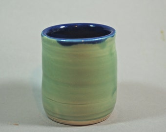 GREEN drinking cup, ceramic, pottery, handmade and ready to ship M29