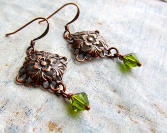 small copper earrings Olive green Art Nouveau jewelry
