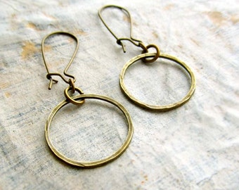 simple earrings small brass hoop earrings round circle hammered earrings simple jewelry