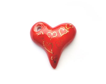Porcelain heart,  onesided red with gold