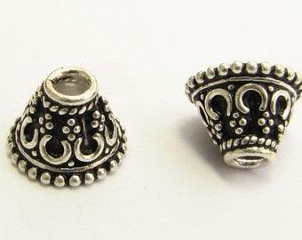 Fancy Crown Design Bead Cones Bead Caps 925 Bali Sterling Silver 7mm x 10mm (2 pieces)